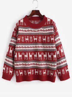 Christmas Graphic Drop Shoulder Sweater - Red