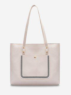 Large Capacity Pure Color Tote Bag - Milk White