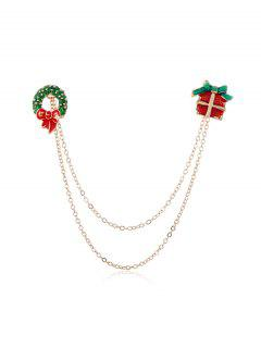 Christmas Glazed Chain Collar Brooch - Multi-e