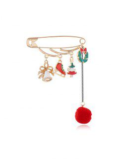 Christmas Fringe Safe Pin Brooch - Multi-a