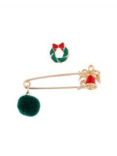 2Pcs Christmas Pom Pom Brooch Set - Multi-k