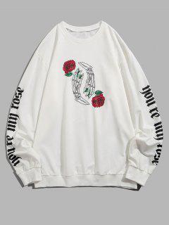 Halloween Skeleton Rose Print Slogan Sweatshirt - White 2xl