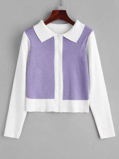 Two Tone Bicolor Zip Up Knit Cardigan - White