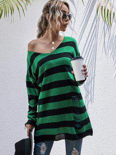 Maglione Strappato A Righe A Blocchi Di Colore Con Spalle Scivolate - Verde Intenso M