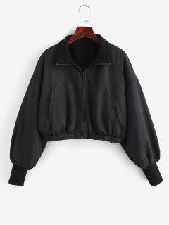 Zip Up Fleece Lined Bomber Jacket - Black S
