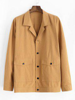 Button Up Notched Collar Flap Pocket Jacket - Yellow L