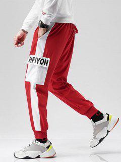 Pantaloni A Blocchi Di Colore Con Tasca - Rosso Xs