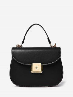PU Leather Flap Saddle Bag - Black