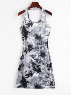 Tie Dye Velvet Halter Bodycon Dress - Gray M