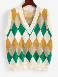 Argyle Knitted Preppy Sweater Vest - Light Yellow