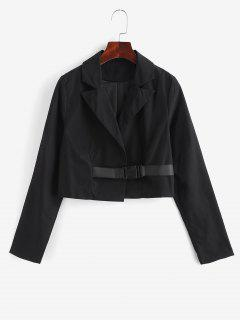 Notch Lapel Buckle Cropped Jacket - Black M