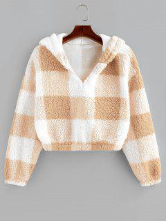 ZAFUL Colorblock Short Teddy Hoodie - Blanched Almond S