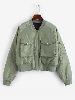 Quilted Pocket Raglan Sleeve Zipper Coat - Light Green M