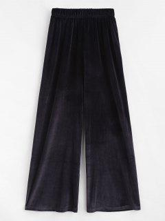 Pull On Velvet Wide Leg Casual Pants - Black