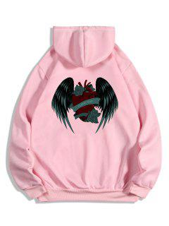I Love You Rose Heart Wing Graphic Fleece Hoodie - Pink S