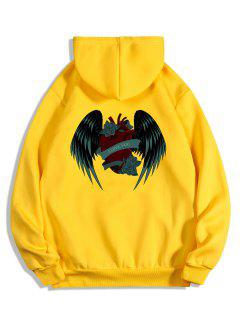 I Love You Rose Heart Wing Graphic Fleece Hoodie - Bright Yellow M