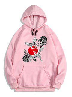 Sweat à Capuche Chinoiserie Grue Fleur Rouge Imprimée En Laine - Rose Flamant Xl