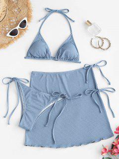 ZAFUL Halter Textured Tie Three Piece Bikini Swimsuit - Light Blue M