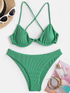 ZAFUL Ribbed Crisscross Back Monowire Bikini Swimwear - Light Green M
