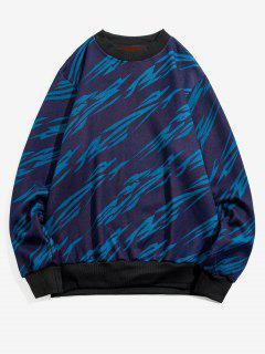 Gestreifter Druck Rippen Strick Trimm Vlies Pullover - Blau S