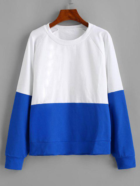 fashion ZAFUL Raglan Sleeve Color Block Sweatshirt - WHITE S Mobile