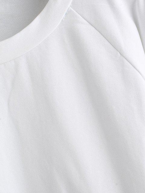 trendy ZAFUL Raglan Sleeve Color Block Sweatshirt - WHITE M Mobile