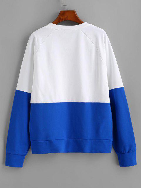ZAFUL Camisa Suéter de mangas reglã com blocos de cores - Branco M Mobile