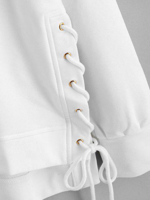 ZAFUL Schnürsenkel Hoch Niedriges Sweatshirt - Weiß S Mobile