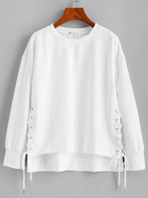 buy ZAFUL Lace Up High Low Sweatshirt - WHITE S Mobile