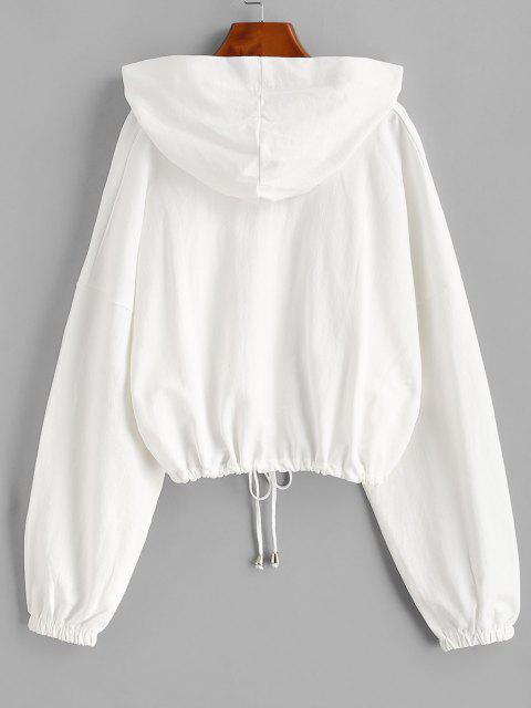 Sweat à Capuche Rayé Coloré Ourlet à Cordon - Blanc Taille Unique Mobile