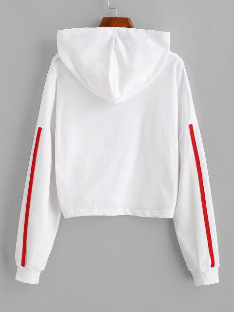 ladies Dropped Shoulder Side Stripe Cropped Hoodie - WHITE M Mobile
