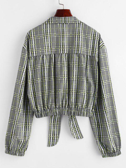 unique Plaid Tie Front Button Up Lapel Shirt - GRAY L Mobile