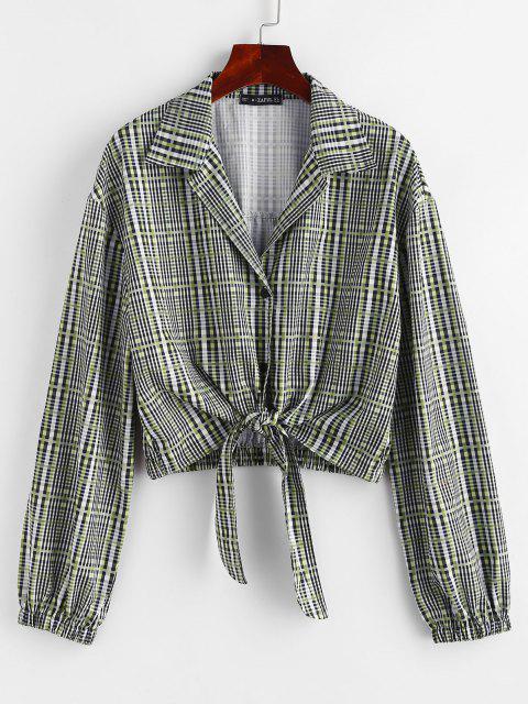 ladies Plaid Tie Front Button Up Lapel Shirt - GRAY M Mobile