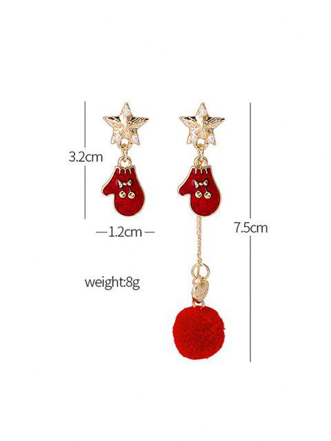 hot Asymmetric Christmas Star Pom Pom Earrings - MULTI-B  Mobile