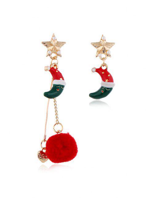Orecchini Asimmetrici di Natale con Pompon - Multi Colori-C  Mobile