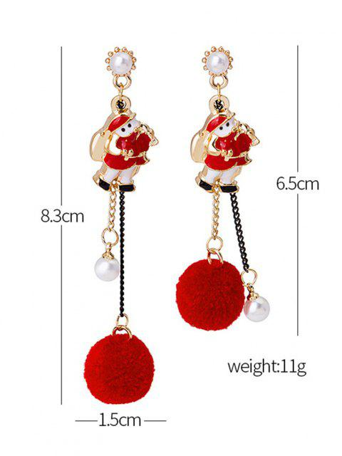 Christmas Asymmetrical Pom Pom Earrings - أحمر  Mobile