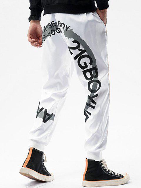 Pantalones Rayados Estampado Letras - Blanco M Mobile
