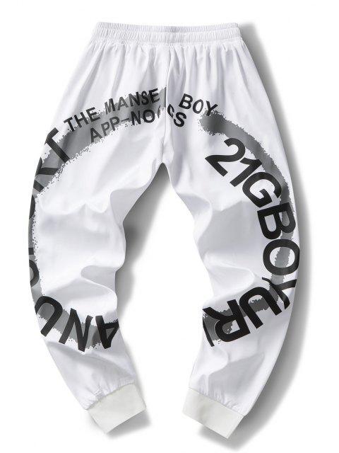 Pantalones Rayados Estampado Letras - Blanco S Mobile