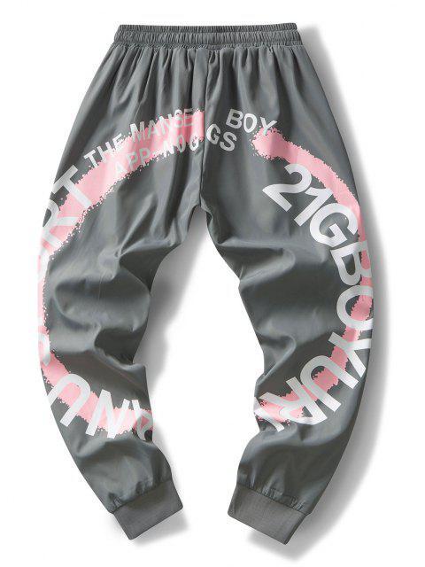 Pantalones Rayados Estampado Letras - Gris XS Mobile