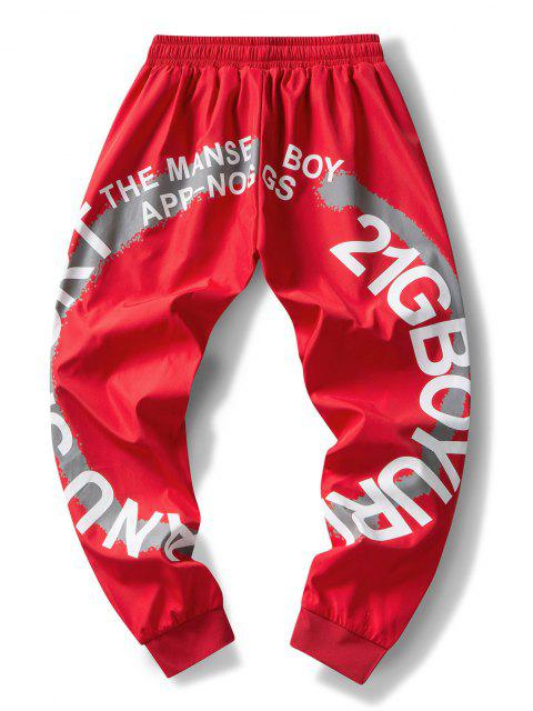 fashion Striped Letter Paint Pattern Beam Feet Pants - RED M Mobile