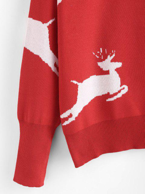 shop Christmas Elk Graphic Drop Shoulder Sweater - RED ONE SIZE Mobile