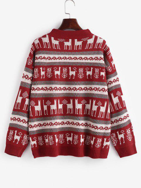 outfits Christmas Graphic Drop Shoulder Sweater - RED ONE SIZE Mobile