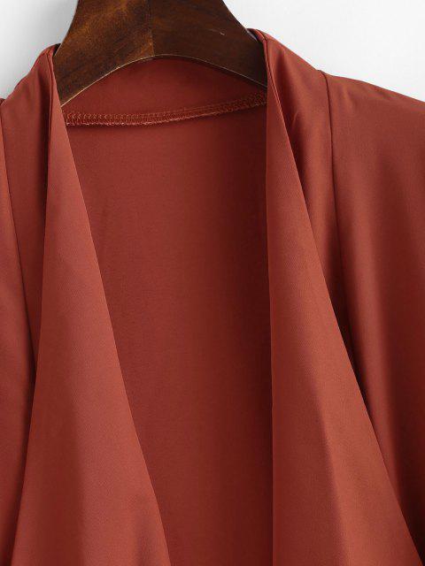 women's Roll Tab Sleeve Waterfall Draped Blazer - COFFEE S Mobile