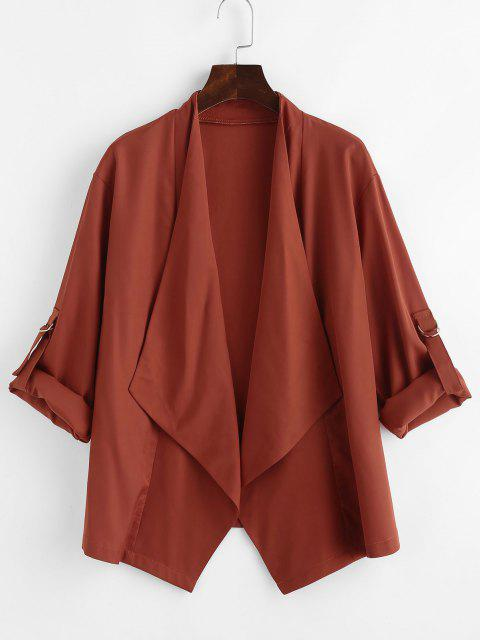 shops Roll Tab Sleeve Waterfall Draped Blazer - COFFEE L Mobile