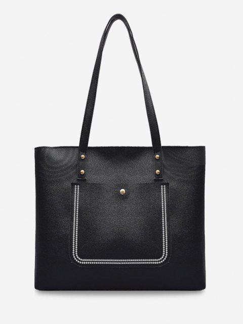unique Large Capacity Pure Color Tote Bag - BLACK  Mobile