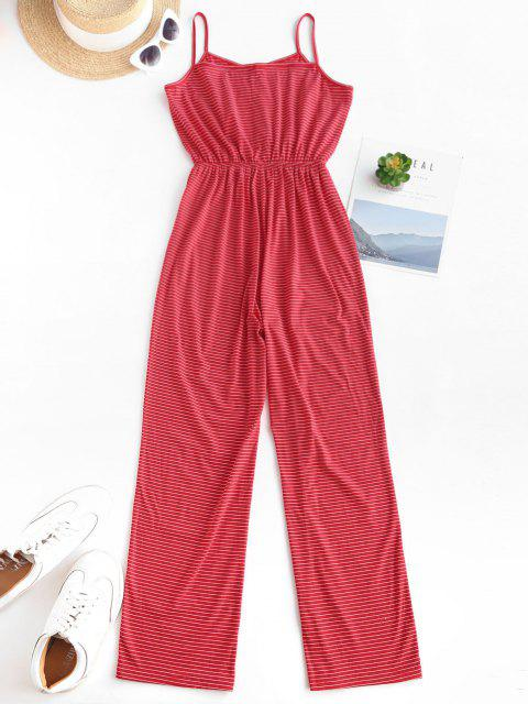 women Striped Button Loop Cami Lounge Sleep Jumpsuit - RED S Mobile