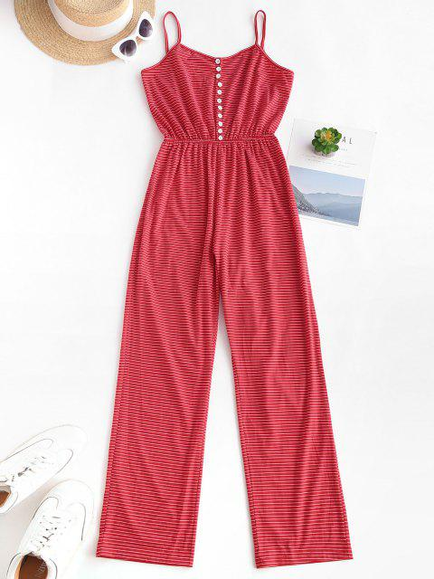women's Striped Button Loop Cami Lounge Sleep Jumpsuit - RED L Mobile