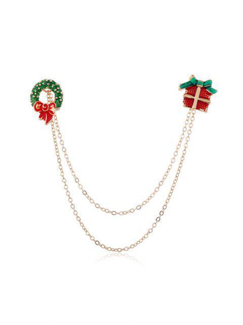 best Christmas Glazed Chain Collar Brooch - MULTI-E  Mobile