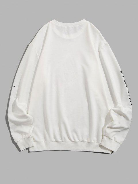 latest Halloween Skeleton Rose Print Slogan Sweatshirt - WHITE XL Mobile