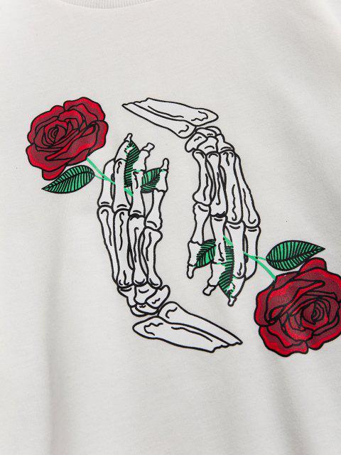 Halloween Skelett Rosen Druck Slogan Sweatshirt - Weiß 2XL Mobile